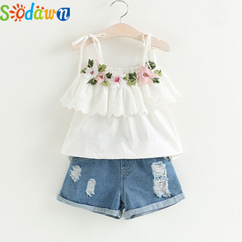 Sodawn Fashion Girls Clothing Set 2019 Summer Baby Girls Clothes White Jacket Flower Decoration+Denim Shorts Children Clothing