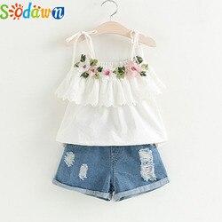 Sodawn/Модный комплект одежды для девочек, лето 2019, одежда для маленьких девочек, белая куртка, украшение в виде цветка + джинсовые шорты, детска...