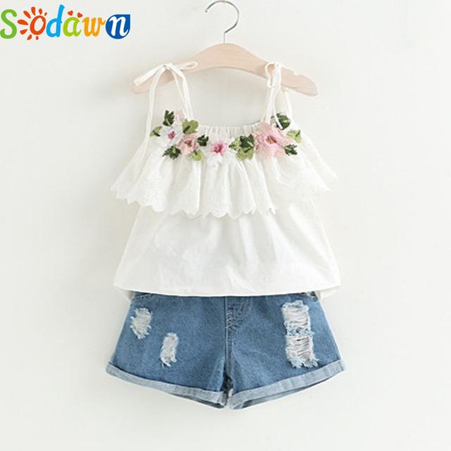 Sodawn Fashion Girls Clothing Set 2019 Summer Baby Girls Clothes White Jacket Flower Decoration+Denim Shorts Children Clothing