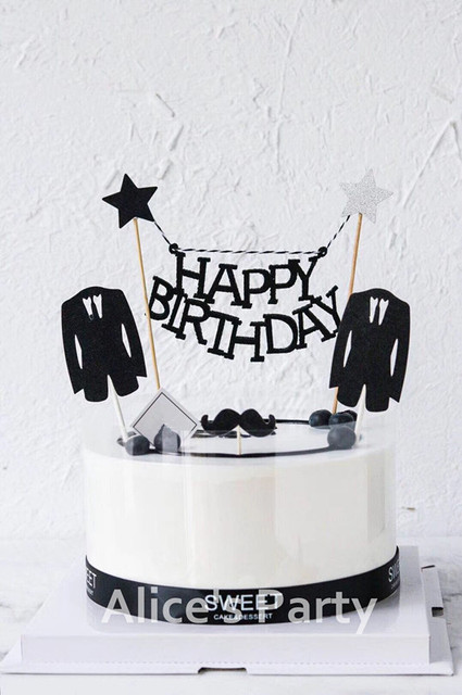 New Black Silver Star Happy Birthday Cake Topper Banner