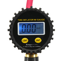 220PSI LCD Digital Display Trachea Tire Inflation Air Pressure Gauge Car Auto Zinc Alloy Aluminum Rubber