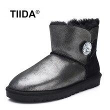 TIIDAแฟชั่นของแท้หนังแกะหนังผู้หญิงรองเท้าหิมะ100%ขนธรรมชาติรองเท้าฤดูหนาวที่อบอุ่นขนสัตว์ข้อเท้าบู๊ทส์รองเท้าฤดูหนาว
