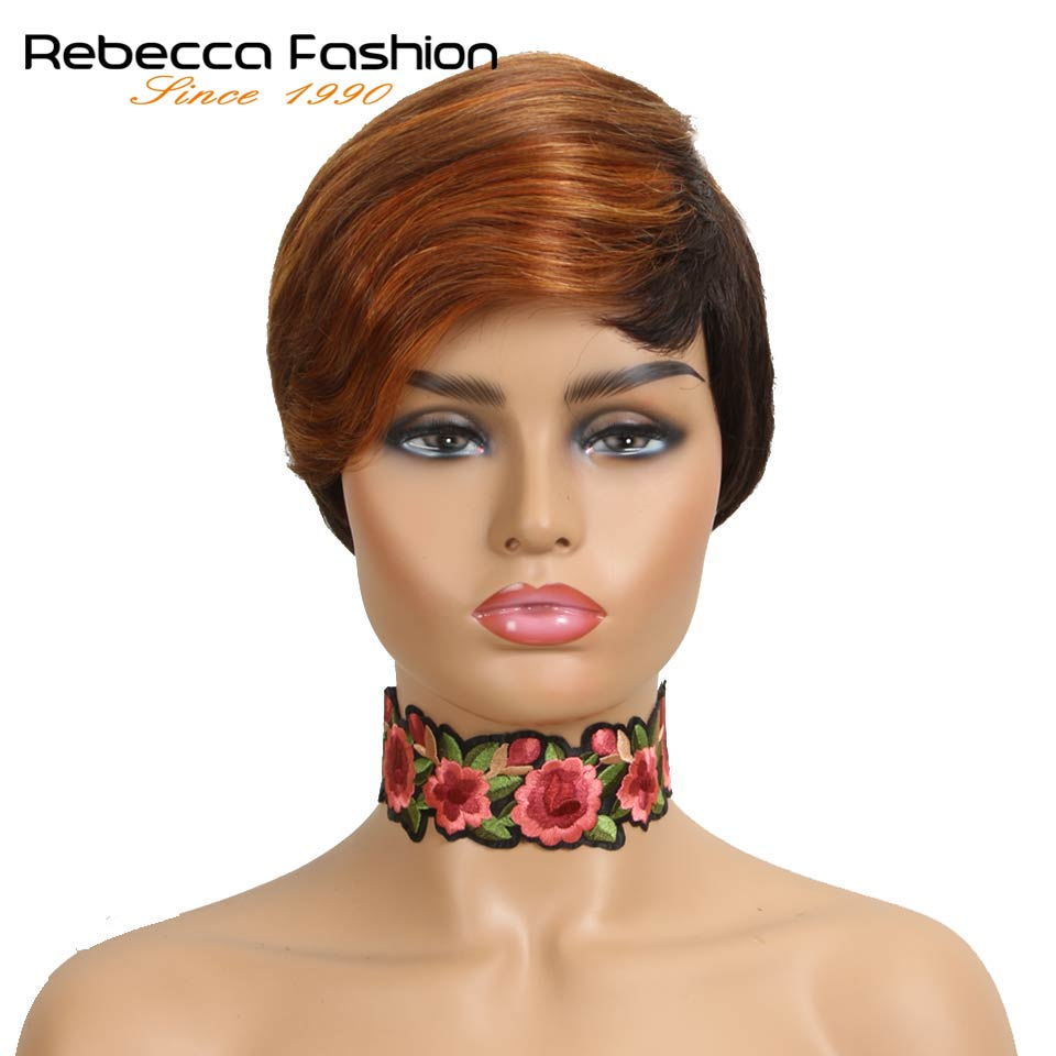 Rebecca Peruvian Remy Human Hair Wigs For Black Women Short Straight Hair Wig Nature Color Machine Made Wig Free Shipping