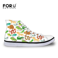 FORUDESIGNS Custom Men S Casual Shoes 3D Zoo Animal Pattern Classic High Top Canvas Vulcanized Shoes