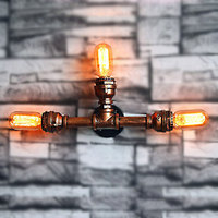 Loft Industrial Retro Vintage Wall Lamp 3 Heads Bulbs E27 Waterpipe Iron Brown Wall Lights Sconces
