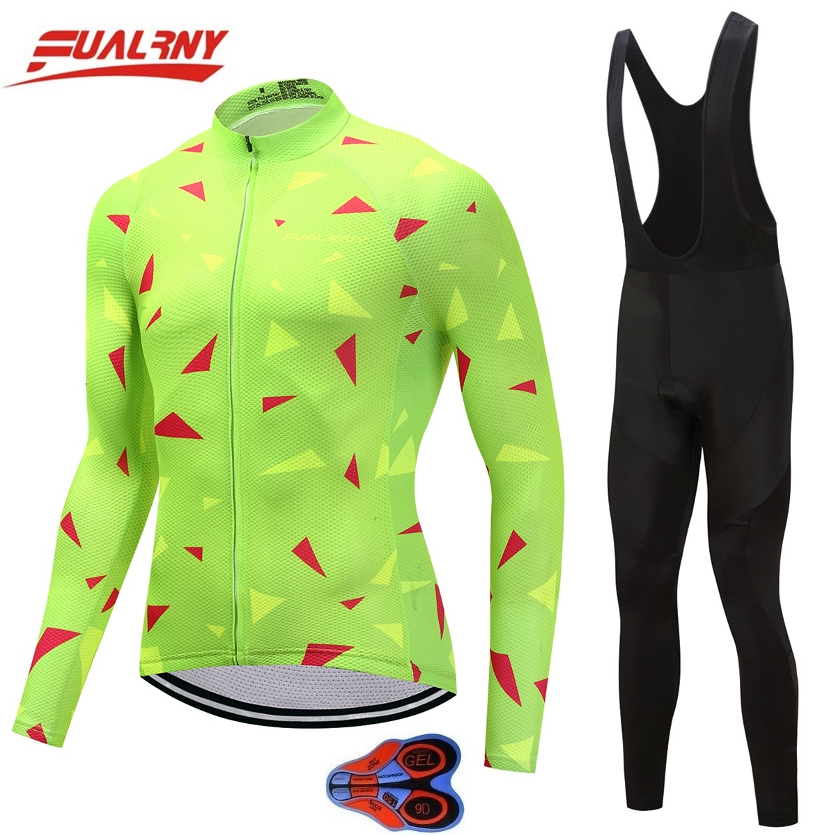 2019 NEW Team FUALRNY Long sleeve Ropa Ciclismo Cycling Jersey sets 9D gel Autumn Clothing MTB Bike Clothes For Man Fluorescence in Cycling Sets from Sports Entertainment