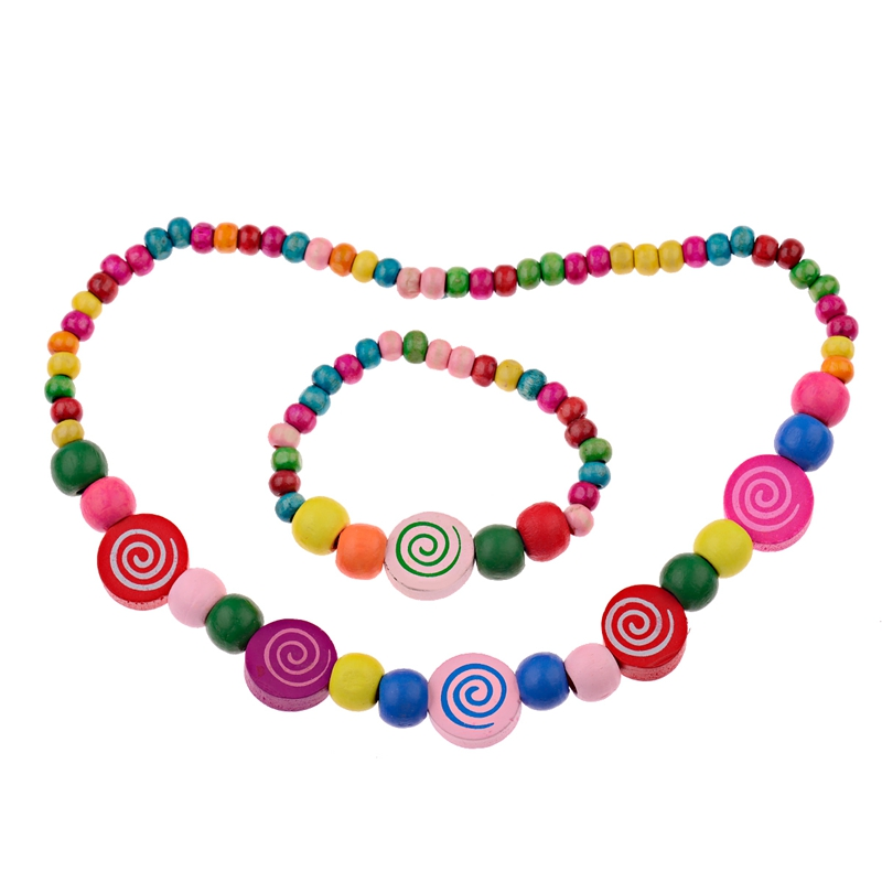 Jewelry-Sets Necklace Bracelet Gifts Girls Children New Wood Party for Strawberry Cute