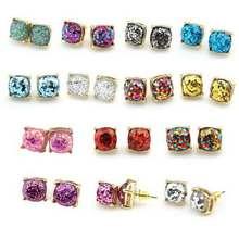 Wholeasle Kate Small Square Opal Glitter Stud Earrings Gold Women Fashion Jewelry 2016 Earrings 14 Option