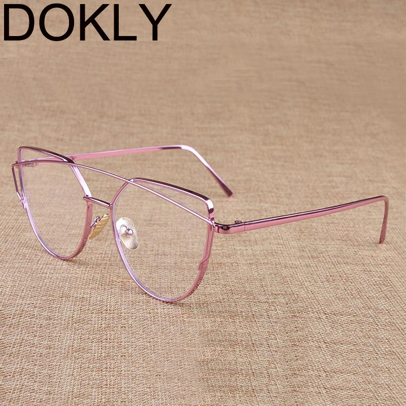 DOKLY New color Cat Eye Sunglasses Women Brand Designer Mirror Sun Glasses Vintage Rose Gold Female Eyewear Oculos De Sol
