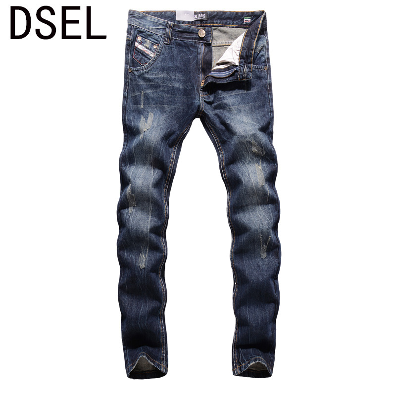 2017 New Dsel Brand Top Quality Hot Sale Fashion Men Jeans Straight Dark Blue Color Printed