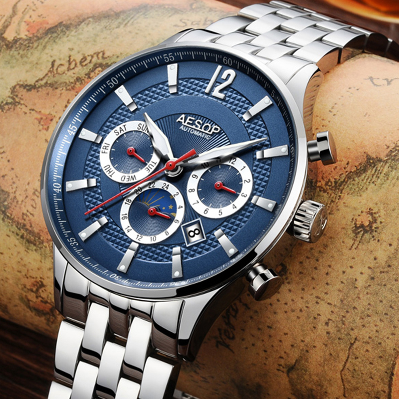 Luxury AESOP watch men silver stainless steel sapphire glass waterproof Automatic machine wristwatch relogio masculine luxury moon phase watch men sapphire glass stainless steel waterproof automatic machine date watch relogio masculine