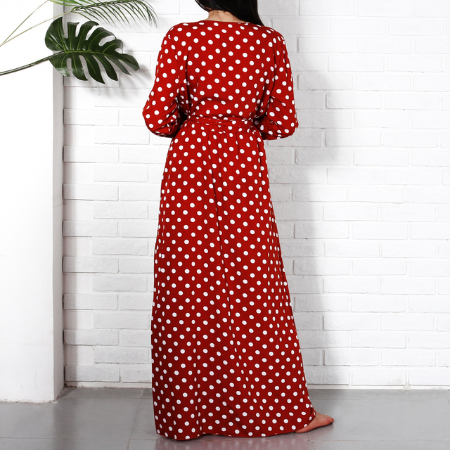 Long Sleeve Maxi Dresses Long 2018 Fashion V Neck Wrap Vintage Polka Dot Dress Women Autumn Casual Dresses Red Holiday Clothing
