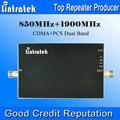 Lintratek telefone celular impulsionador 850 1900 ganho 65dB 850 / 1900 mhz Dual Band impulsionador celular AGC tamanho Mini sinal de celular impulsionador 850 1900