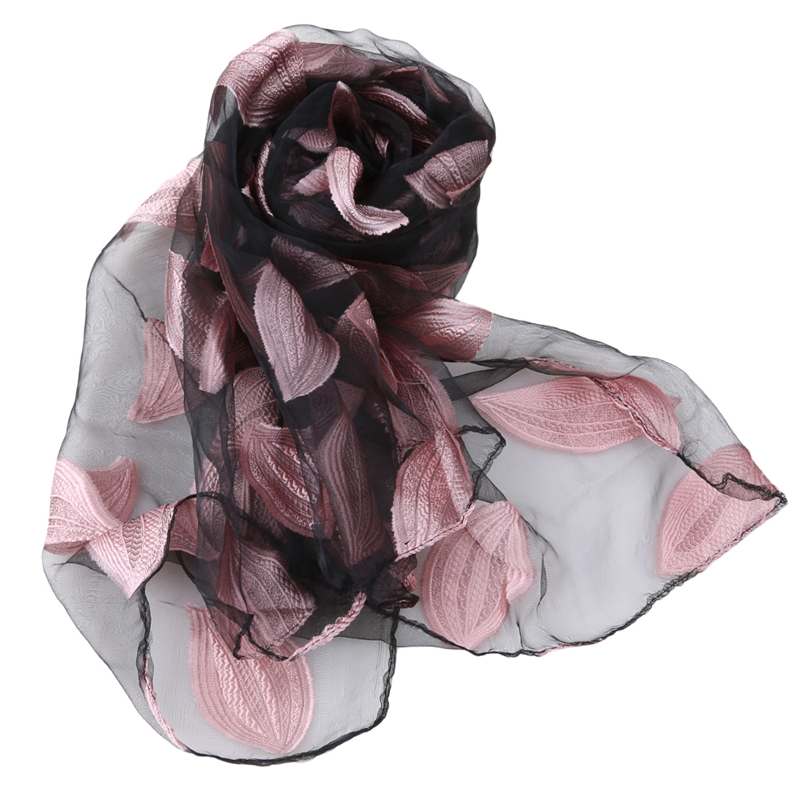 New Spring Summer Scarf Women Fashion Leaf Cut Flowers Scarves Elegant Ladies Beach Cover Up Winter Scarf For Women Shawl