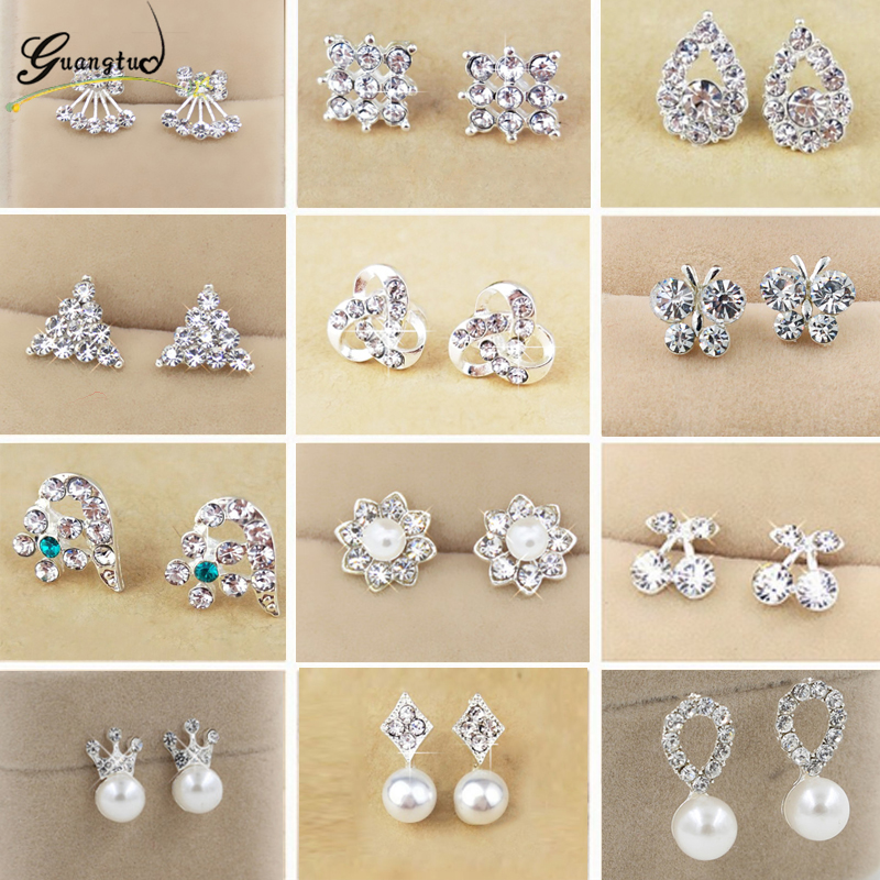 Hot Cute Exquisite Simlated Pearl Crystal Stud Earring Erfly Snowflake Star Triangle Crown Shape Bijoux Brincos