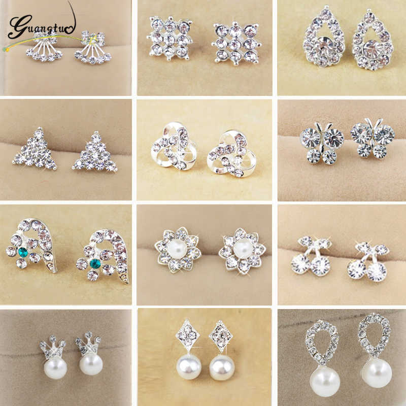 Hot Sale Cute Exquisite Simlated Pearl Crystal Stud Earring Butterfly Snowflake Star Triangle Crown Shape Earring Bijoux Brincos