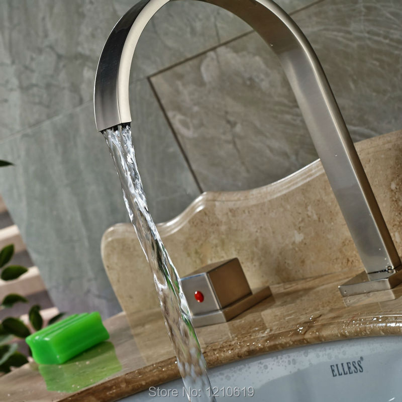 Uythner Newly Deck Mount Basin Faucet Sink Mixer Faucet Tap Nickel Brushed Hot&Cold Water Faucet Three Holes