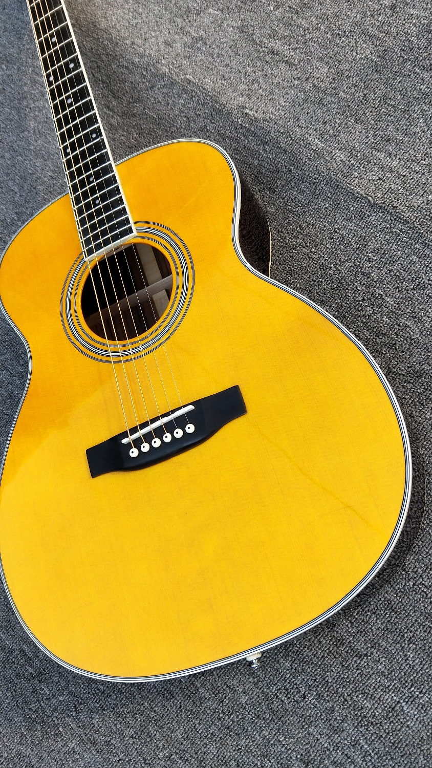 Chinese Factory Custom Yellow 28 Style Classical Acoustic Guitar, Solid Spruce Top, High Quality OM Body Acoustic Guitar musiclily 3ply pvc outline pickguard for fenderstrat st guitar custom