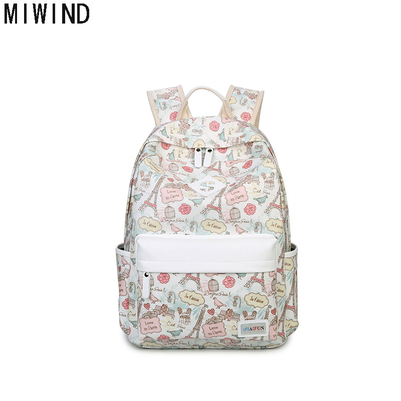 MIWIND Canvas Printing Women School Bag Backpack For Teenage Girls 2017 New Preppy Style Schoolbag Women Book Bags TJ1352MIWIND Canvas Printing Women School Bag Backpack For Teenage Girls 2017 New Preppy Style Schoolbag Women Book Bags TJ1352