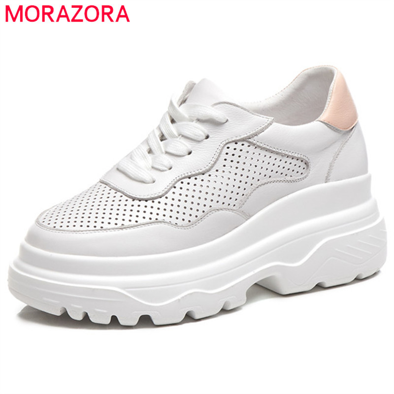 MORAZORA 2019 newest flat shoes women genuine leather shoes spring summer casual shoes lace up platform