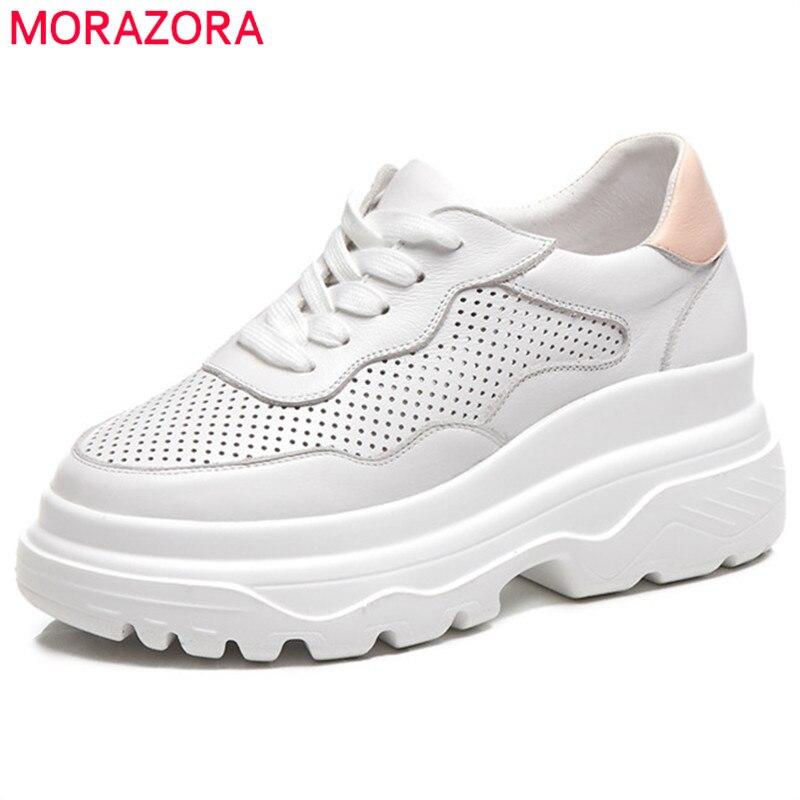 MORAZORA 2019 nouvelles chaussures plates femmes chaussures en cuir véritable printemps été chaussures décontractées à lacets plate-forme chaussures femme baskets