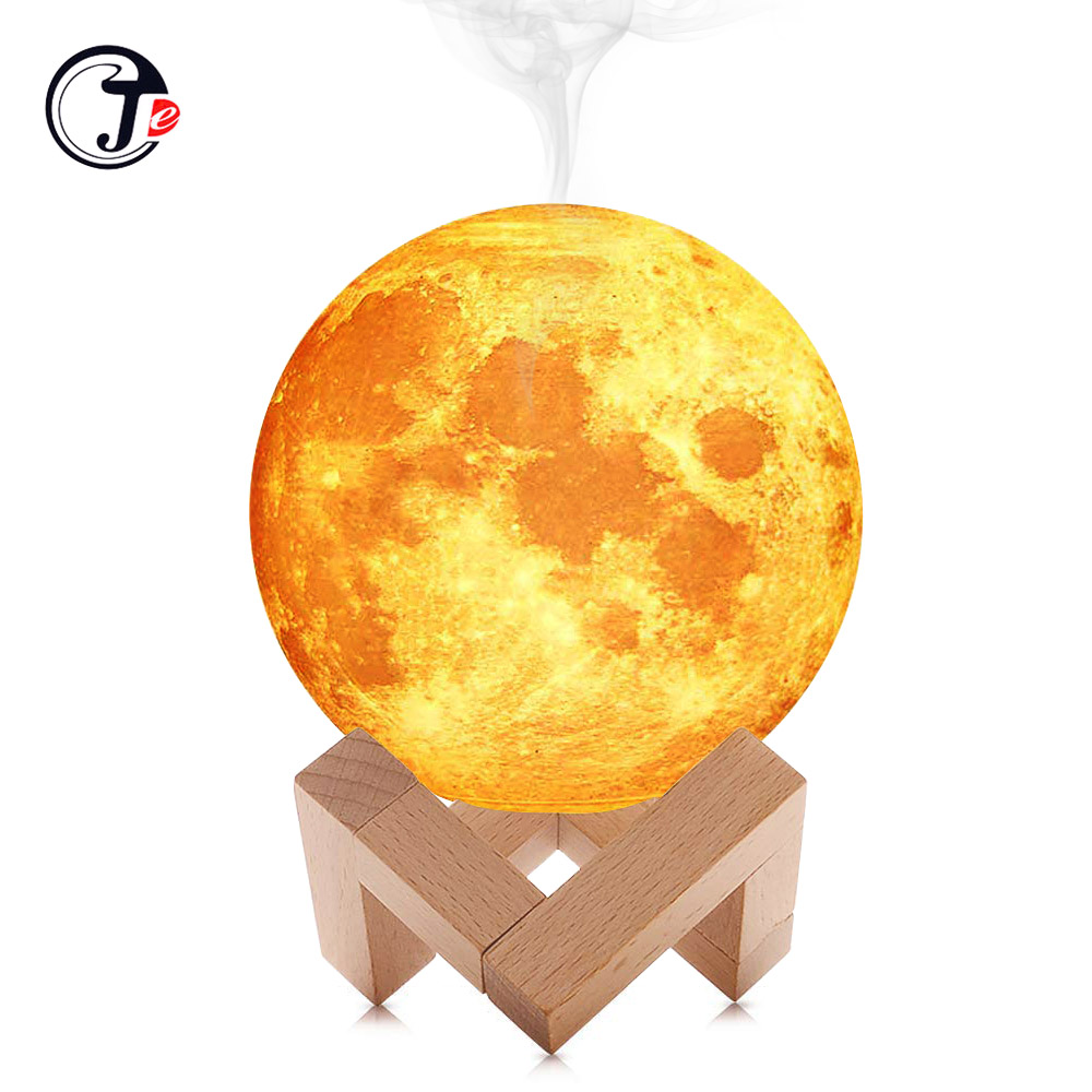 New 880ML Air Humidifier 3D Moon Lamp light Diffuser Aroma Essential Oil USB Ultrasonic Humidificador Night Cool Mist Purifier(China)