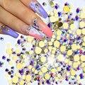 1440 unidades/pacote Novo SS3-SS12 Nail Art Glitter Pedrinhas AB Vidro Cristal Plano voltar Para O Salão de Decoração de Unhas de Ouro 3d NJ246