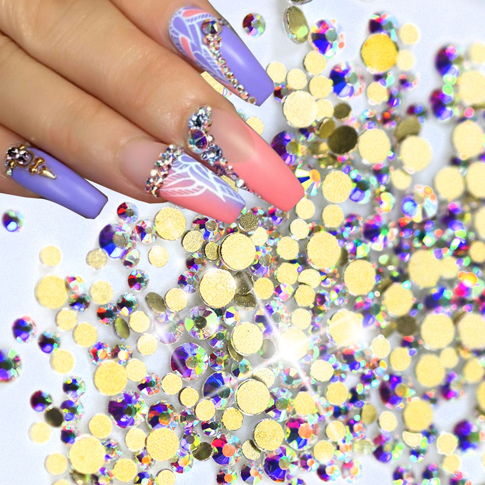 1440pcs/pack New  SS3-SS12 Nail Art Glitter Rhinestones AB Gold 3d Glass Crystal Flat back For Nail Salon Decoration SANJ246 1 pack mixed size crystal ab colorful nail art rhinestones flat back 3d glass nail glitter decorations diy manicure accessories