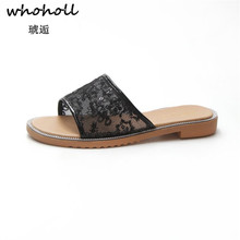Whoholl 2019 Woman Slippers Flower Rhinestones Lace Gladiator Outside Flip Flops Square Heels Open Toe Comfortable Sandals 35-40