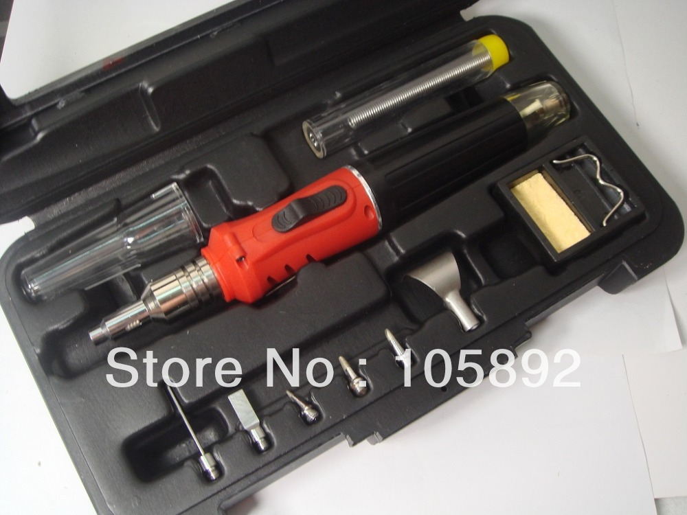 цена на Free shipping 10 in1 Butane Gas Soldering Irons DIY Kit Tool Set Gas soldering lighter