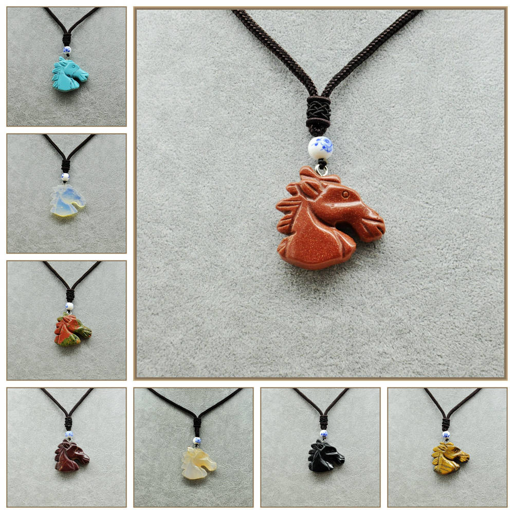 Yumten Horse Head Pendant Collares Colar Feminino Moonstone Necklace Amber Jewelry Female Pendant Gemstones Natural Beads