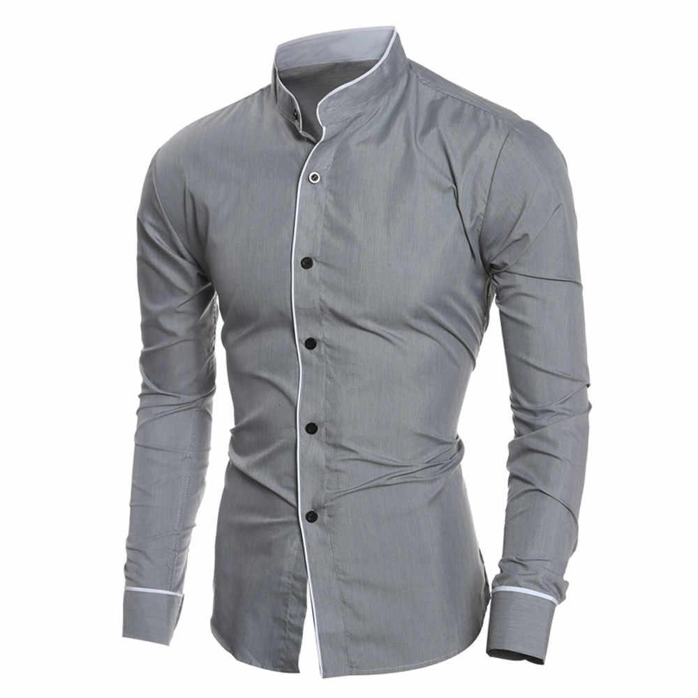 Мужская рубашка деловая Повседневная приталенная Однотонная рубашка с длинными рукавами Топ Блузка Высококачественная Мужская одежда camisas de hombre 2019