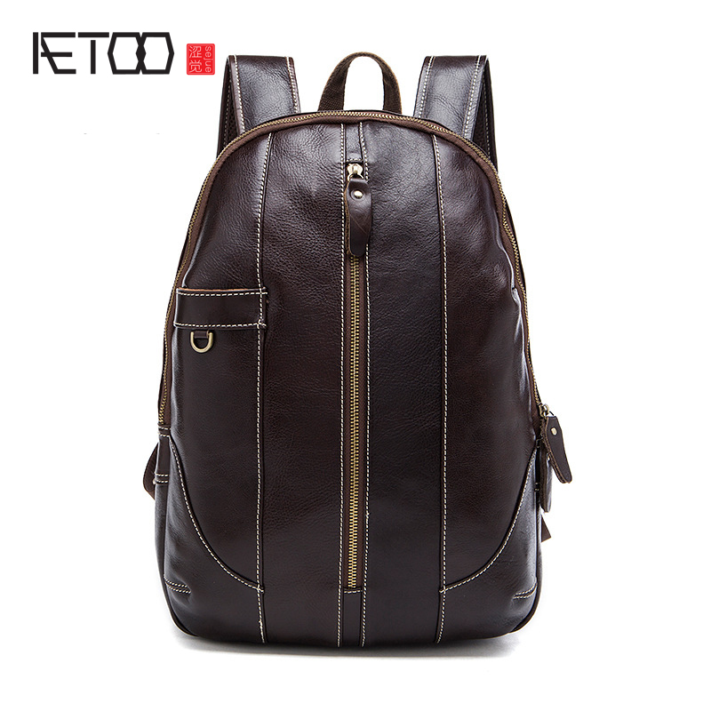 AETOO Europe and the United States fashion shoulder bag men and women leather backpack kraft students bag large capacity travel europe and the united states style first layer of leather lychee handbag fashion retro large capacity solid business travel bus
