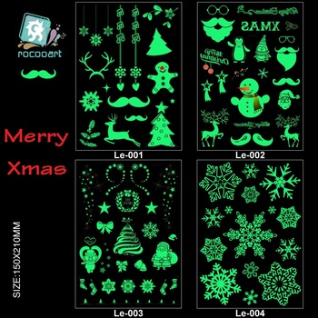 Rocooart Christmas Luminous Tattoo Snowman Taty For Kids Fake Tattoo Xmas Glowing in Dark Waterproof Temporary Tattoo Stickers
