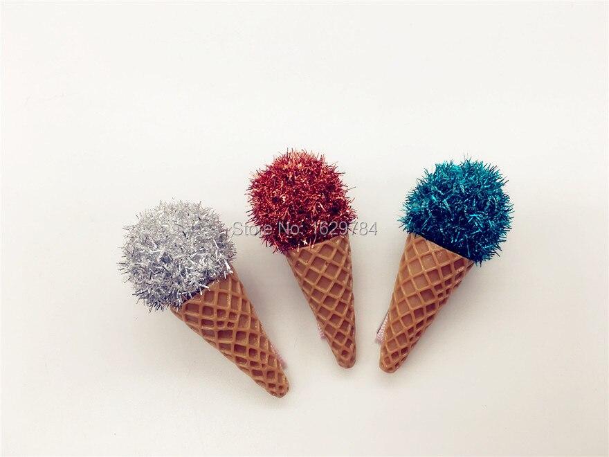 3/'/' Glitter Hair Clips for Girls Cute Ice Cream Sequin Yarn Princess Hairpins