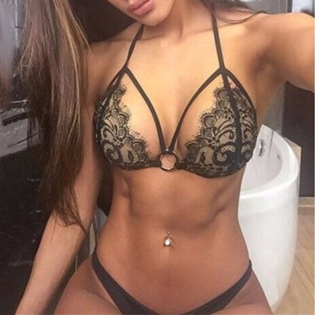 1172c0ddc6299 2016 Sexy Black Bandage Lace crochet Bikini Sets Push Up women Swimsuit  Bathing Suits Wholesale