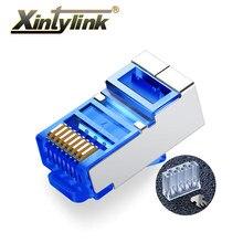 Xintylink-connecteur ethernet rj45 cat6 rg rg45, connecteur de réseau blindé, jack lan modulaire bleu 50pcs
