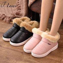 Tleni 2018 walking shoes Women Winter Ankle shoes Slip on Waterproof Female Soft Warm Flat Short Shoes Fur Snow shoes ZF-33