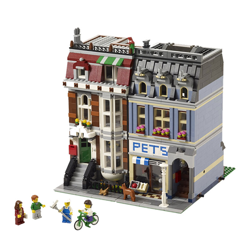 City Street Creator Pet Shop Supermarket Model font b LEPIN b font 15009 2082pcs Building Block
