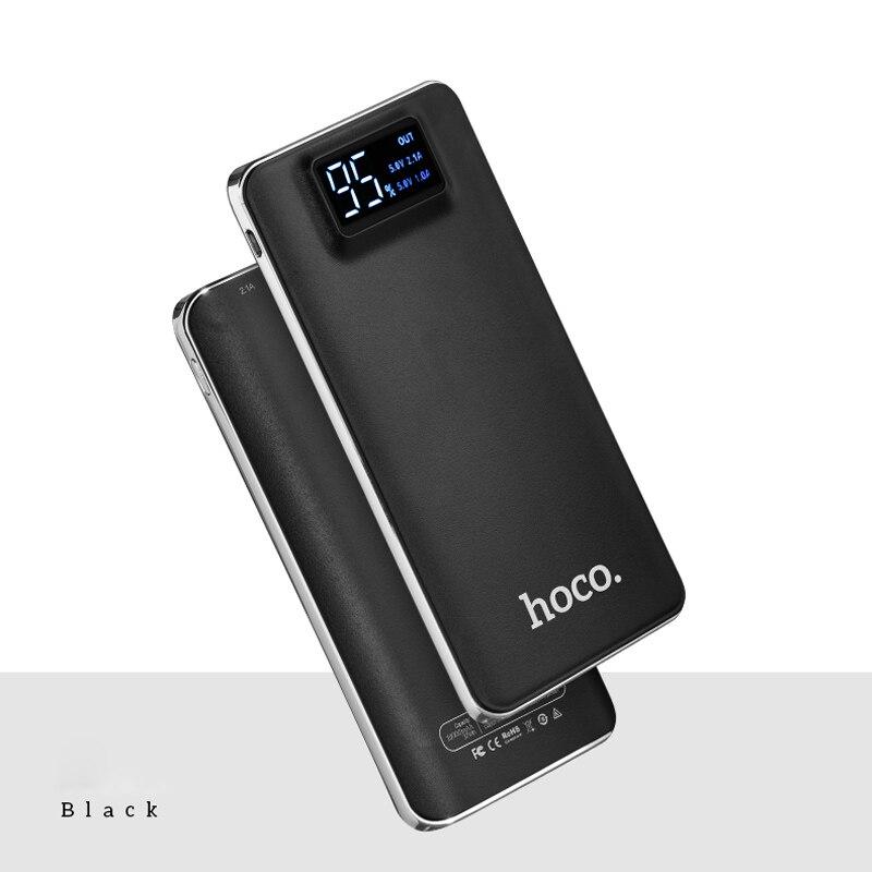 imágenes para Original hoco polímero banco de la energía 10000 mah lcd dual usb powerbank cargador portátil de batería externa para iphone ipad xiaomi huawei
