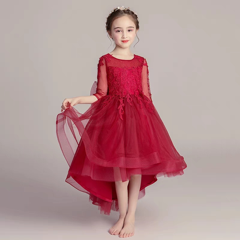 1a47b34591 Pink And Wine-red Children Kids Party Lace Dresses For Weddings Baby Teens  Girl Evening Birthday Toddler Princess Dress Clothes