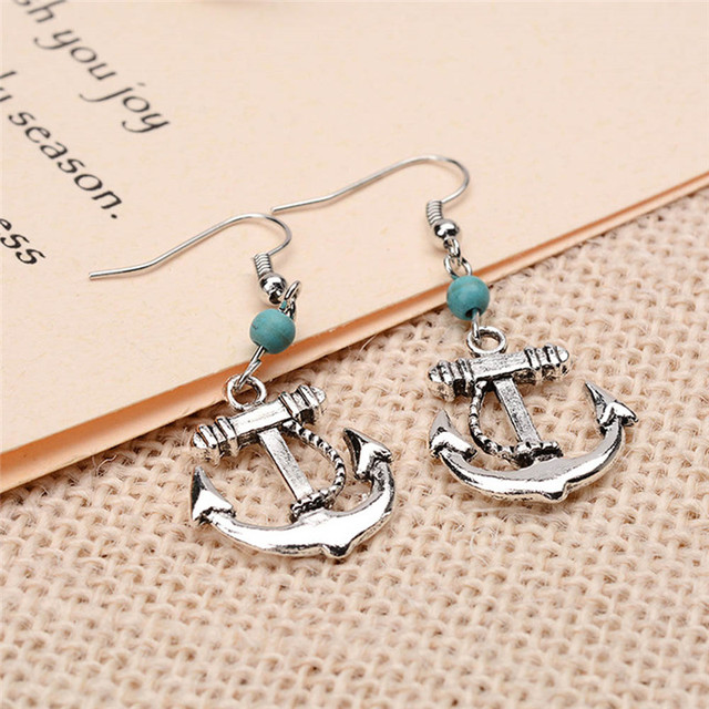 f3f9505b9 Fashion Anchor Earrings Women 2018 Trendy Nautical Jewelry Simple Unique  Anchor Charm Stud Earring For Women