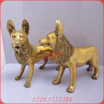 free shipping Bronze statue copper dog decoration Large brass zodiac dog Bronze wolfhounds a pair of home crafts bronze sculpture