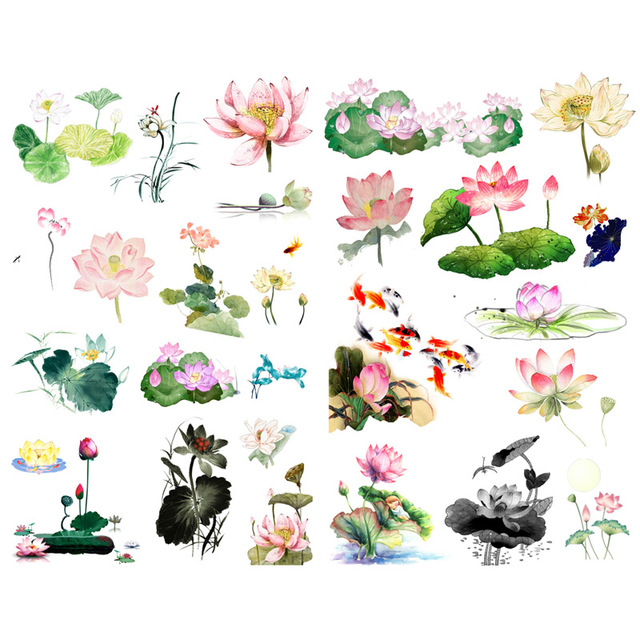 1 piezas de acuarela flor de loto pintura de flores de papel de estética de la etiqueta engomada de papelería Scrapbook bala revista pegatinas vv
