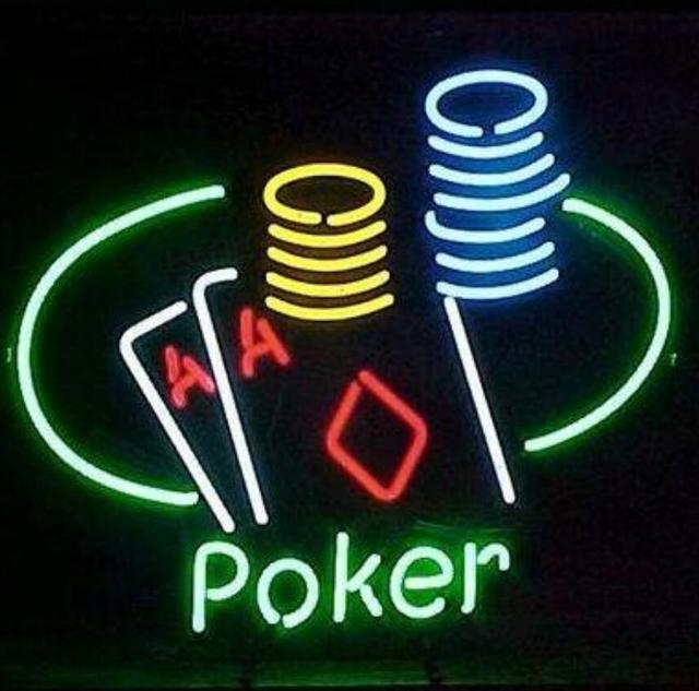 Custom Poker Glass Neon Light Sign Beer Bar