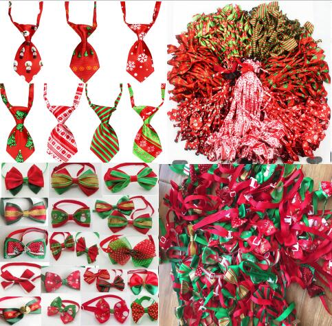 100pc lot Christmas Dog Ties Pet Cat bowtie Neckties Accessories Dog Holiday Grooming products Supplies