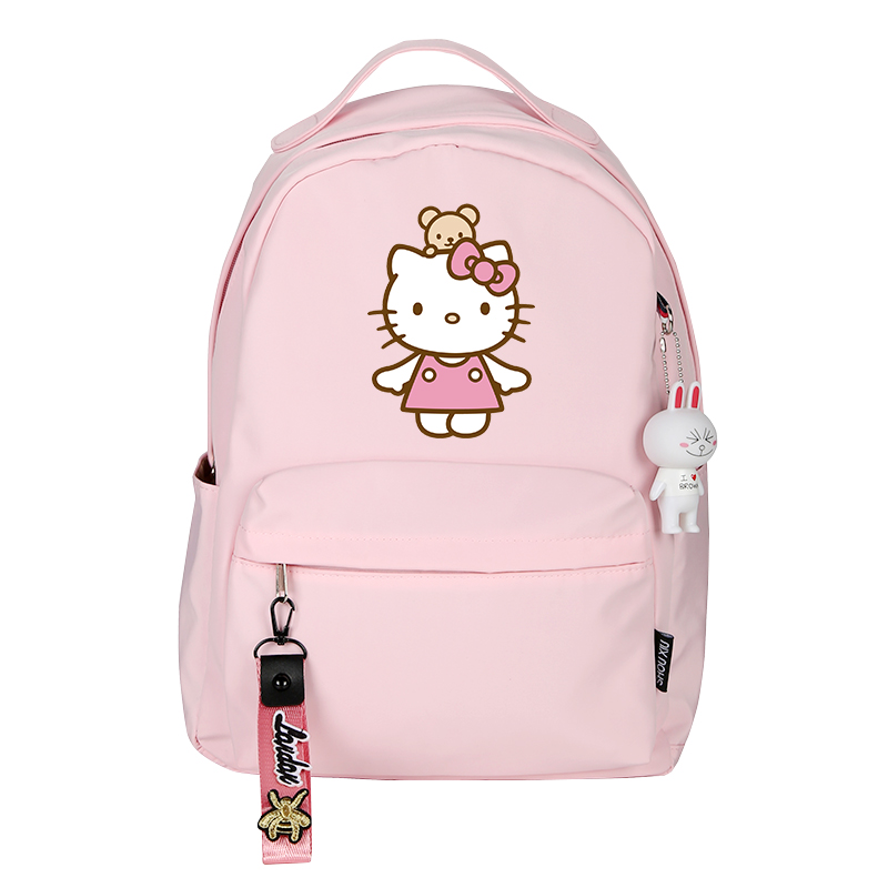 Fashion Anime Hello Kitty Women Backpack School Bags For Teenage Girls Cute Pink Backpack Travel Shoulder Bacpack Notebook Bag