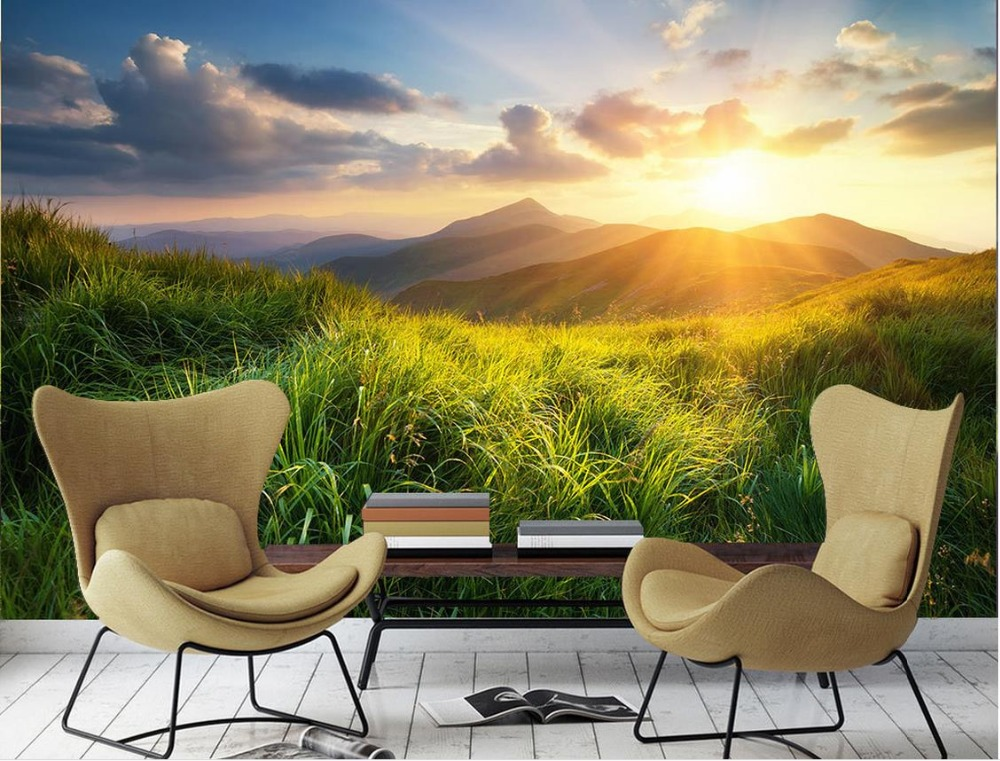landscape background living sunny 3d prairie wallpapers stereoscopic mural forest custom zoom