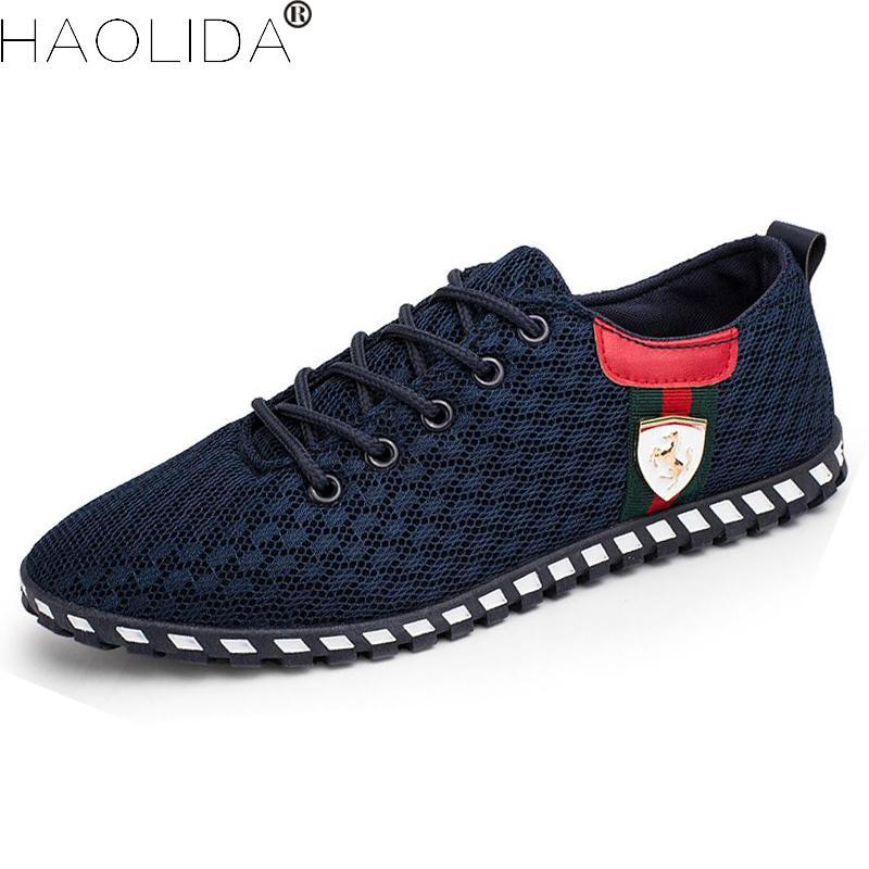 9cb19f4e7 Sapatos Masculinos de verão Dos Homens Malha Respirável Sapatos Casuais Moda  Low Canvas Lace-up Sapatos Flats Condução Sapatos Zapatillas Hombre flats