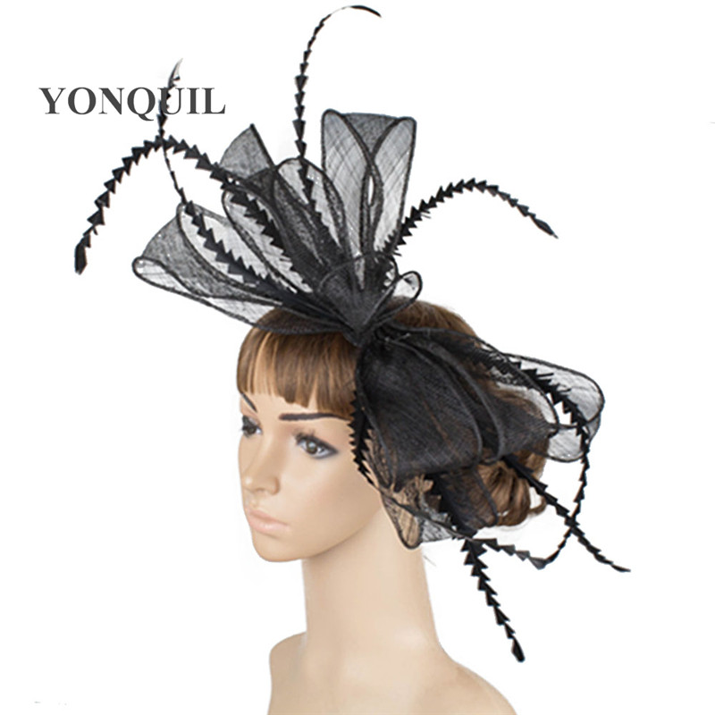 Wedding big bowknot Fascinator Cocktail Hats sinamay material for Women Hair Headband Vintage Lady Feather Accessories TMYQ035